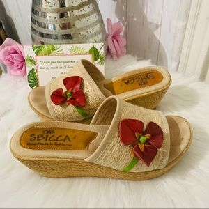 Sbicca Fabric Wedge Slide Sandals Size 8